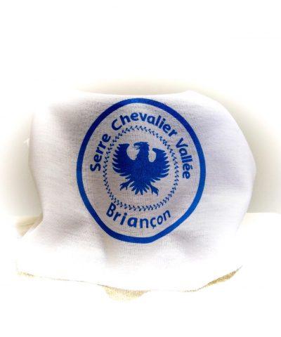 Buff blanc avec logo Serre-Chevalier Vallée - Briançon bleu
