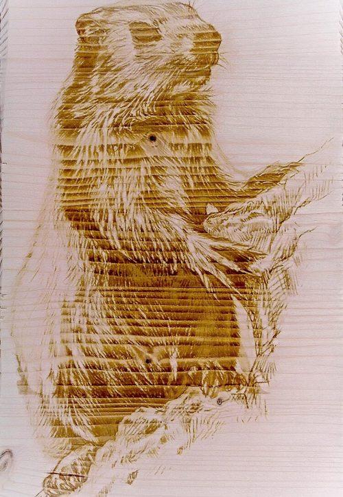 Gravure personnalisée sur bois d'une marmotte