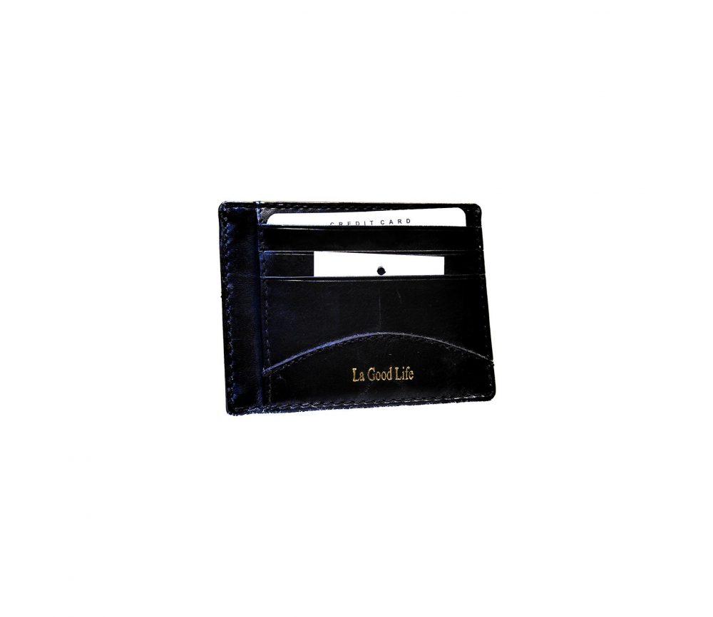 Porte-cartes cuir noir bordure bleu