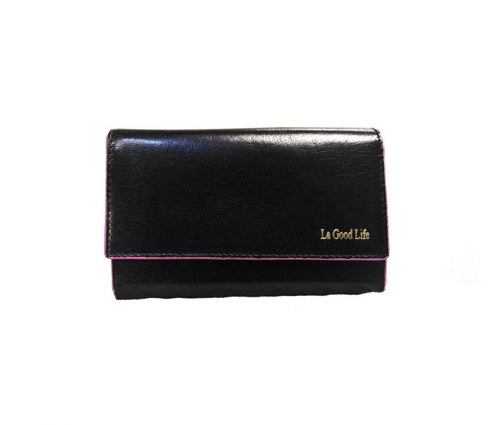 Porte-cartes cuir noir bordure rose
