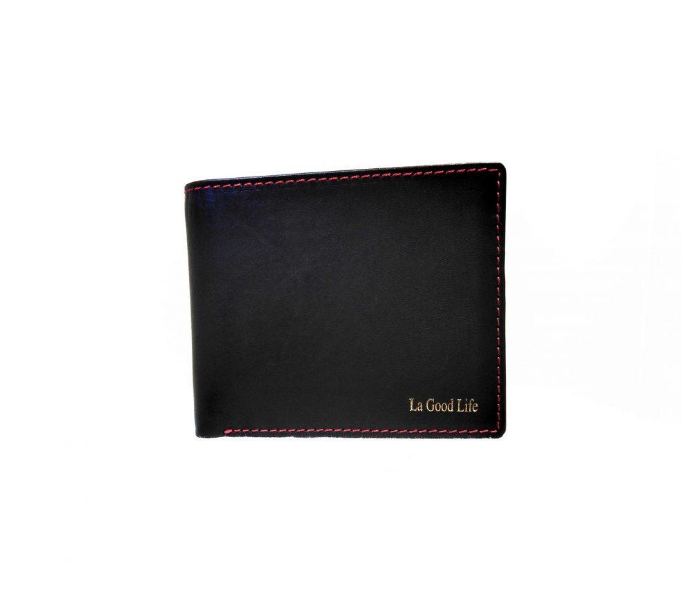 Porte-cartes cuir noir bordure rouge