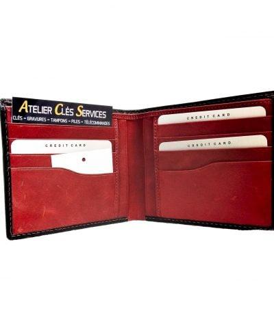 Porte-cartes cuir noir intérieur rouge
