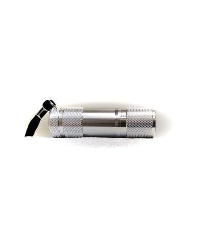 Porte-clés lampe de poche métal vue de côté