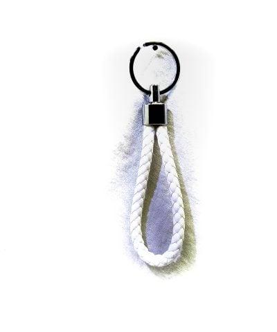 Porte-clés simili cuir blanc