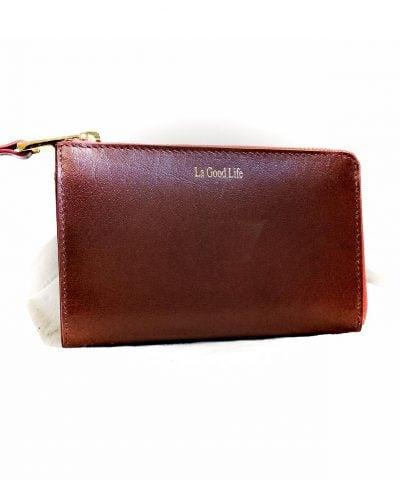 Portefeuille cuir marron interieur rouge