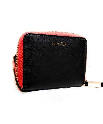 Portefeuille cuir noir bordure rouge