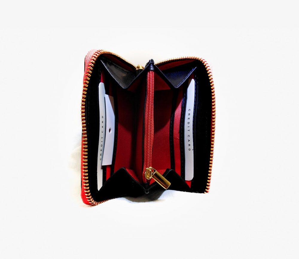Portefeuille cuir noir interieur rouge