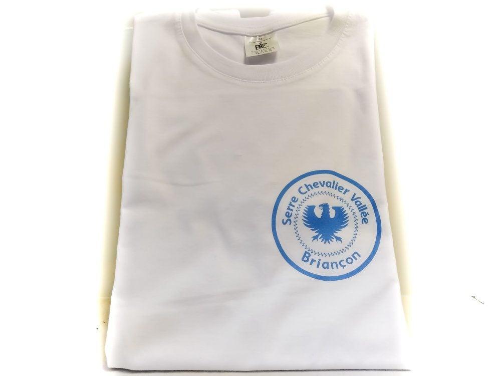 Tshirt Briançon Blanc avec logo Serre Chevalier bleu