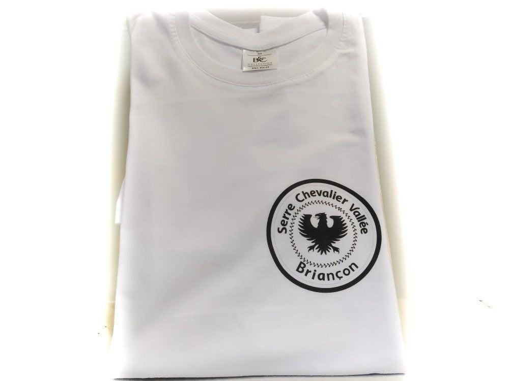 Tshirt Briançon Blanc avec logo Serre Chevalier noir