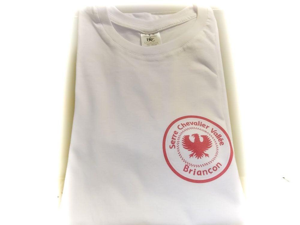 Tshirt Briançon Blanc avec logo Serre Chevalier rouge