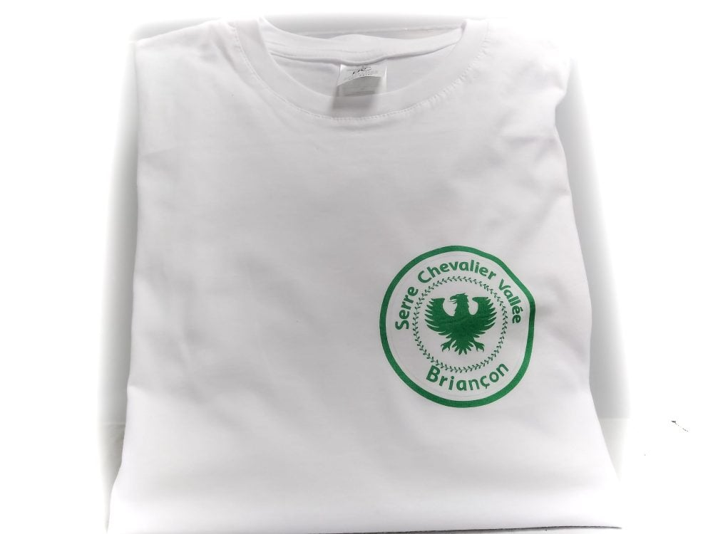 Tshirt Briançon Blanc avec logo Serre Chevalier Vert
